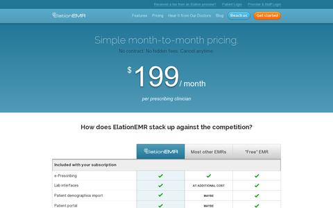 Screenshot of Pricing Page elationemr.com - Pricing | Low Monthly Rate, No Contract, Affordable EMR - captured July 19, 2014