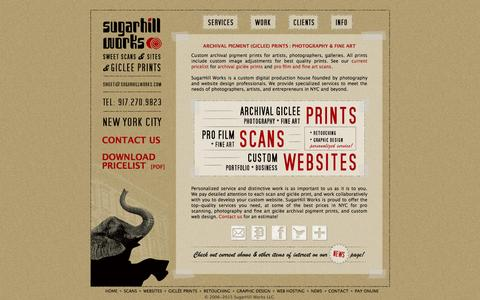 Screenshot of Home Page sugarhillworks.com - Archival Pigment Giclee Prints, Pro Film Scans, Custom Websites | SugarHill Works, NYC - captured Aug. 16, 2015
