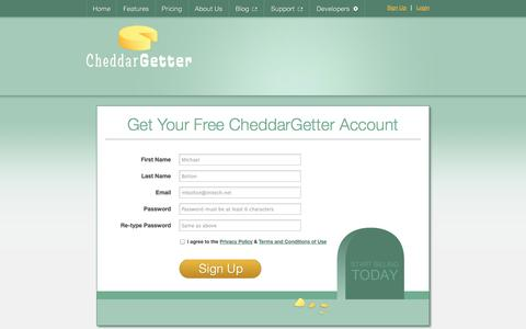 Screenshot of Signup Page cheddargetter.com - Sign up for Recurring Billing Management | CheddarGetter - captured Sept. 22, 2014