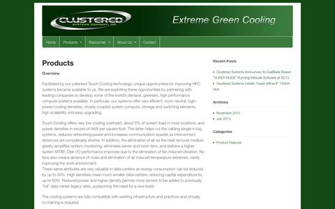 Screenshot of Products Page clusteredsystems.com - Products | Clustered Systems Company Inc - captured Oct. 5, 2014