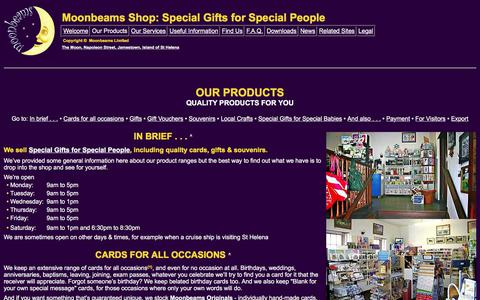 Screenshot of Products Page moonbeamsforall.com - Moonbeams Shop: Special Gifts for Special People • Our Products - captured Oct. 20, 2017