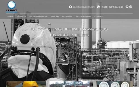 Screenshot of Home Page lunosystems.com - Luno Systems | Life Support Breathing Apparatus Equipment - captured Sept. 13, 2015