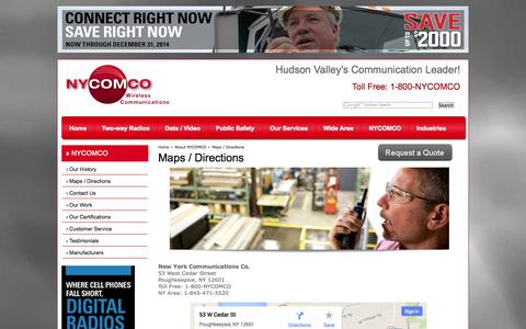 Screenshot of Maps & Directions Page nycomco.com - Maps / Directions NYCOMCO Company History Two-way Radio Dealer Poughkeepsie, Hudson Valley New York - captured Oct. 26, 2014