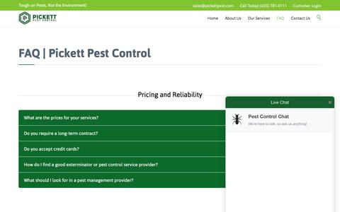 Screenshot of FAQ Page pickettpest.com - FAQ - Pickett Pest Control's Frequently Asked Questions - captured Nov. 6, 2016