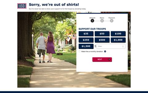 Screenshot of Landing Page uso.org - Donate | USO.org - captured Sept. 27, 2018