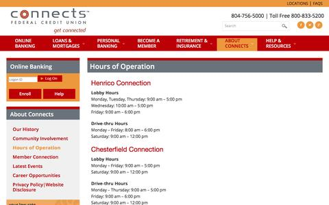 Screenshot of Hours Page connectsfcu.org - Hours of Operation - Connects Federal Credit Union - captured April 14, 2016