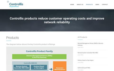 Screenshot of Products Page controllis.com - Products - captured Nov. 11, 2016