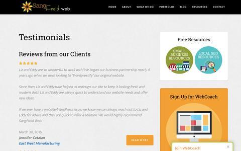 Screenshot of Testimonials Page sangfroidwebdesign.com - Testimonials | SangFroid Web, LLC - captured Nov. 19, 2016