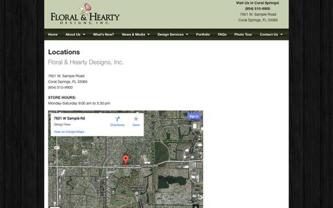 Screenshot of Locations Page floral-hearty.com - Locations   Floral & Hearty Designs, Inc. - captured Oct. 6, 2014