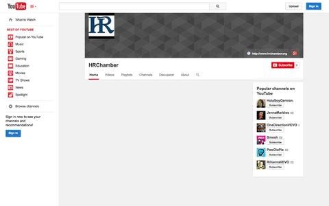 Screenshot of YouTube Page youtube.com - HRChamber  - YouTube - captured Oct. 22, 2014