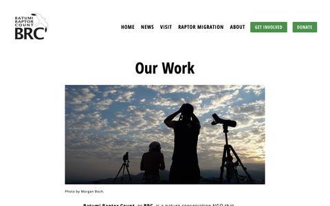 Screenshot of About Page batumiraptorcount.org - Our Work — Batumi Raptor Count - captured Nov. 6, 2018
