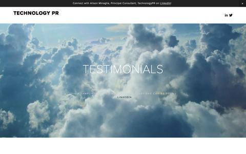 Screenshot of Testimonials Page technologypr.com - TESTIMONIALS Ń Technology PR - captured Jan. 10, 2016