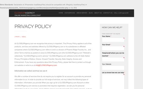 Screenshot of Privacy Page closeupagency.com - CLOSEUP Agency - Privacy Policy Guidelines - captured Sept. 26, 2014