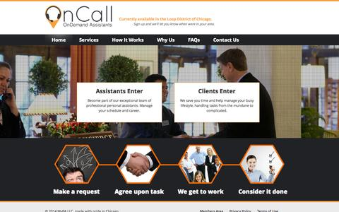 Screenshot of Home Page oncall.co - OnCall | OnDemand Assistants - captured Oct. 6, 2014