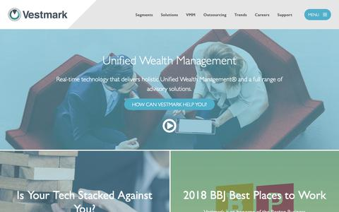 Screenshot of Home Page vestmark.com - Unified Wealth Management | Vestmark - captured Oct. 19, 2018