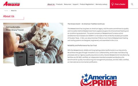 Screenshot of About Page amana-hac.com - Reliable, Innovative And Durable Home Appliances | Amana - captured Sept. 23, 2018