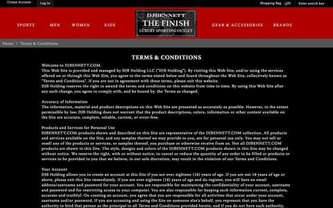 Screenshot of Terms Page thefinishbydjbennett.com - Terms & Conditions - captured Jan. 9, 2017