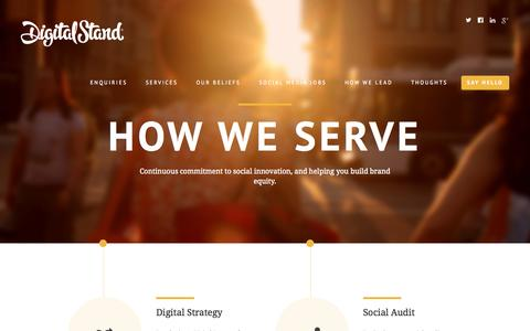 Screenshot of Services Page digitalstand.com - Our Services - Social Media Agency - captured Oct. 27, 2014