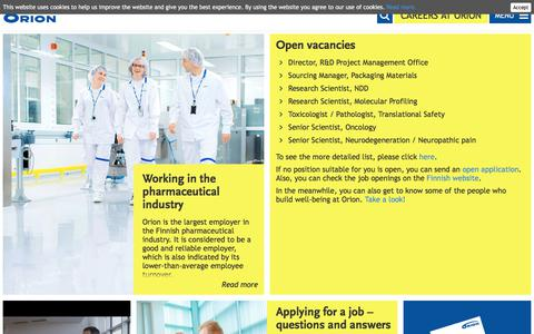 Screenshot of Jobs Page orion.fi - Careers at Orion | Orion - captured May 11, 2018