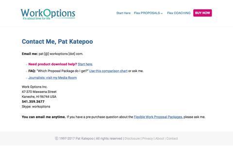 Screenshot of Contact Page workoptions.com - Contact Pat Katepoo of WorkOptions.com - captured Nov. 29, 2017