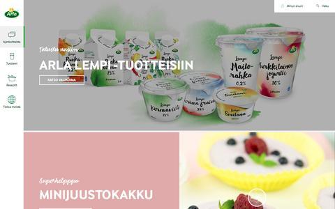 Screenshot of Home Page arla.fi - Arla - Nauti Hyvästä - captured Aug. 31, 2016