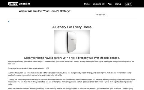 EnergyElephant:  Blog - Where Will You Put Your Home's Battery?