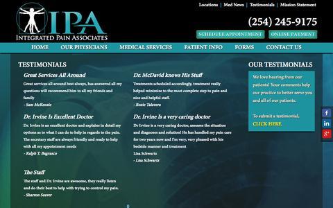 Screenshot of Testimonials Page ipaclinic.com - The Staff - captured Oct. 6, 2014