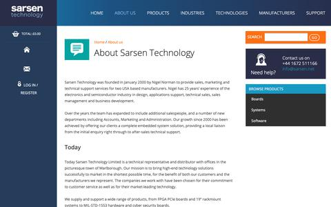 Screenshot of About Page sarsen.net - About Us - Sarsen Technology - captured Sept. 27, 2018