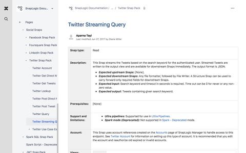 Twitter Streaming Query - SnapLogic Documentation - SnapLogic Documentation