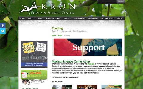 Screenshot of Support Page akronfossils.com - Funding - Akron Fossils & Science Center - captured Oct. 3, 2018