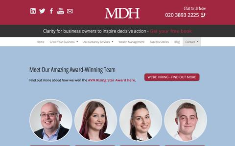 Screenshot of Team Page mdh.me.uk - The Award Winning Accountancy Team at MDH - captured Nov. 12, 2018