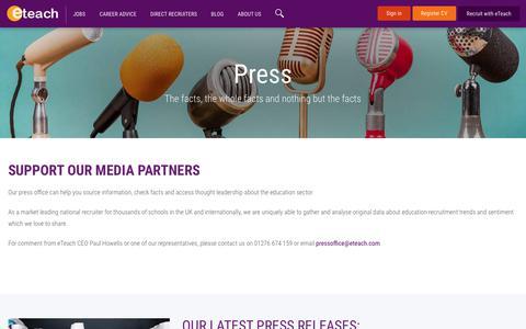 Screenshot of Press Page eteach.com - Press office - captured Oct. 31, 2018