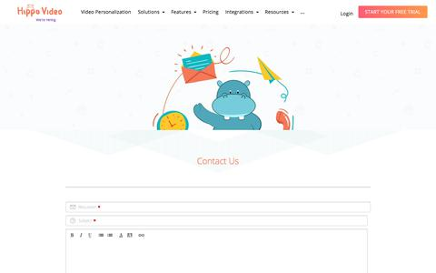 Screenshot of Contact Page hippovideo.io - Contact Us | Hippo Video - captured July 15, 2019