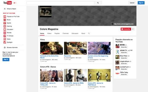 Screenshot of YouTube Page youtube.com - Colors Magazine  - YouTube - captured Oct. 22, 2014
