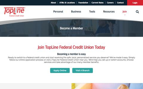 Screenshot of Signup Page toplinecu.com - Become a Member :: TopLine Federal Credit Union - captured Sept. 22, 2018