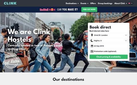 Screenshot of Home Page clinkhostels.com - Hostels in London & Amsterdam   Clink Hostels - captured Sept. 22, 2018