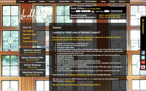Screenshot of Jobs Page theoldinn.com - Hotel Jobs Northern Ireland | The Old Inn - captured Jan. 11, 2016