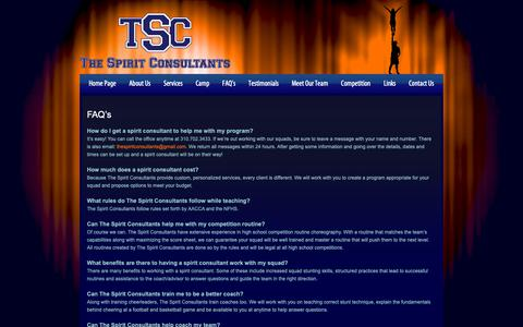 Screenshot of FAQ Page thespiritconsultants.com - FAQ's | The Spirit Consultants - captured Oct. 20, 2018