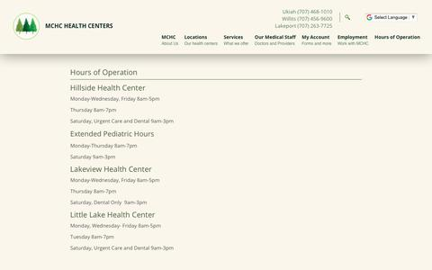 Screenshot of Hours Page mchcinc.org - Hours of Operation | Mendocino Community Health Clinic - MCHC, Inc., Ukiah, Willits, and Lakeport, California - captured Oct. 5, 2017