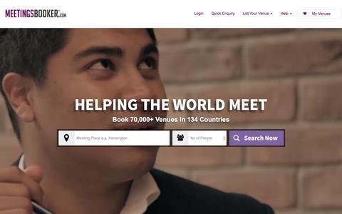 Screenshot of Home Page meetingsbooker.com - Meetingsbooker: Book amazing meeting venues in minutes - captured Oct. 22, 2015
