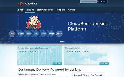 Screenshot of Products Page cloudbees.com - Continuous Delivery, Powered by Jenkins | CloudBees - captured Oct. 2, 2015