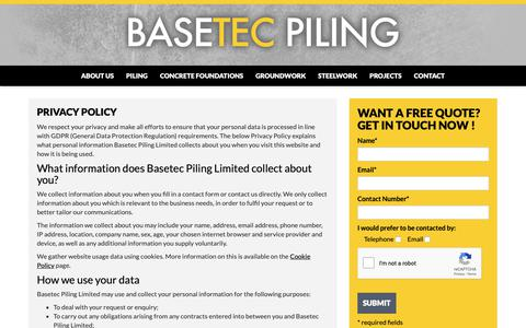 Screenshot of Privacy Page basetecpiling.co.uk - Privacy Policy - Basetec Piling Ltd - captured Oct. 5, 2018