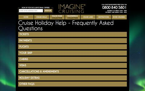 Screenshot of FAQ Page imaginecruising.co.uk - Cruise Holiday Help - Frequently Asked Questions |  Imagine Cruising - captured Jan. 8, 2016
