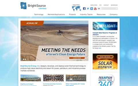 Screenshot of Home Page brightsourceenergy.com - BrightSource Energy | Concentrating Solar Power - captured Nov. 6, 2019