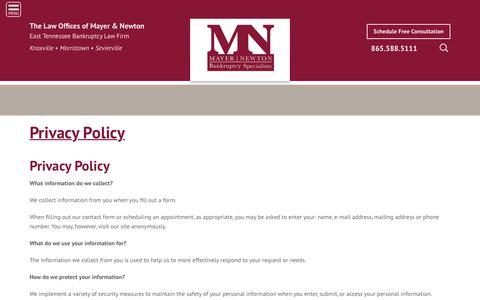 Screenshot of Privacy Page mayerandnewton.com - Privacy Policy - Mayer & Newton Bankruptcy Specialists - captured Oct. 18, 2018