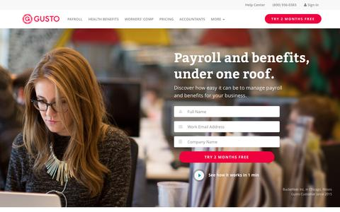 Screenshot of Home Page gusto.com - Online Payroll, Health Benefits, Workers' Comp | Gusto - captured May 11, 2016