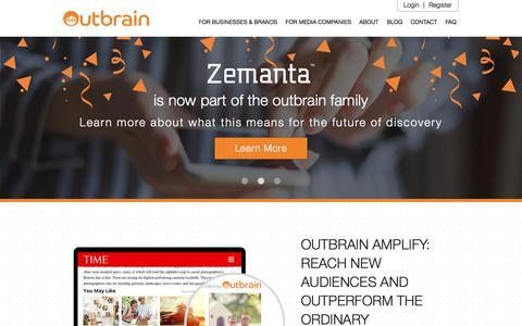 Screenshot of Home Page outbrain.com - Content Discovery and Marketing Platform | Outbrain.com - captured Sept. 2, 2017