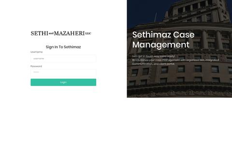 Screenshot of Login Page sethimaz.com - Sethimaz Case Management System | Login - captured May 29, 2019