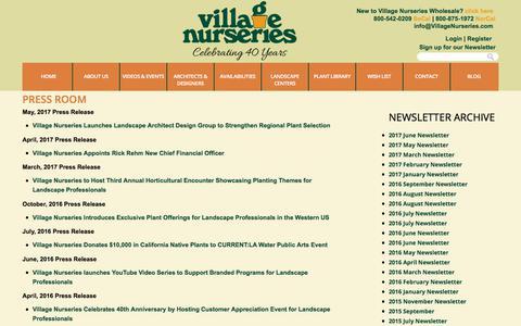 Screenshot of Press Page villagenurseries.com - Press | Village Nurseries - captured June 19, 2017