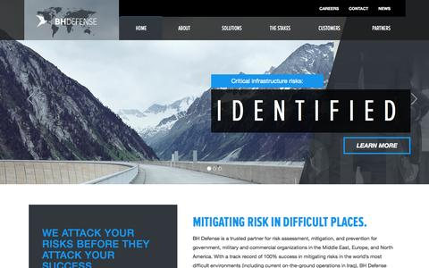 Screenshot of Home Page bhdefense.com - BH Defense - Mitigating Risks in Difficult Places - captured Jan. 23, 2015